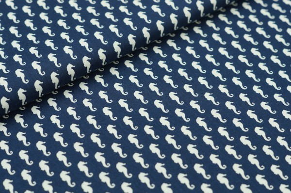 Baumwolle Seepferd dunkelblau
