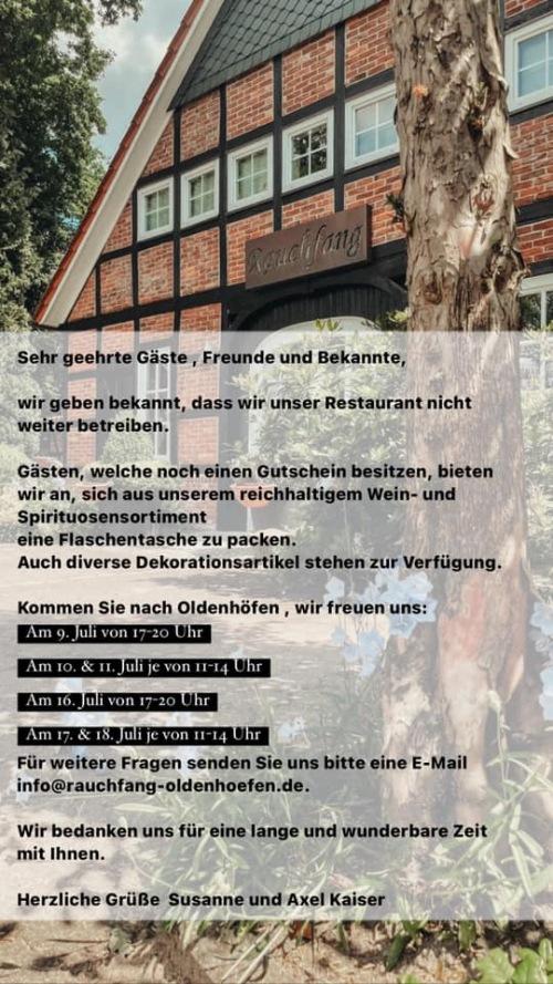 Rauchfang Oldenhöfen / Scheessel Öffnungszeiten