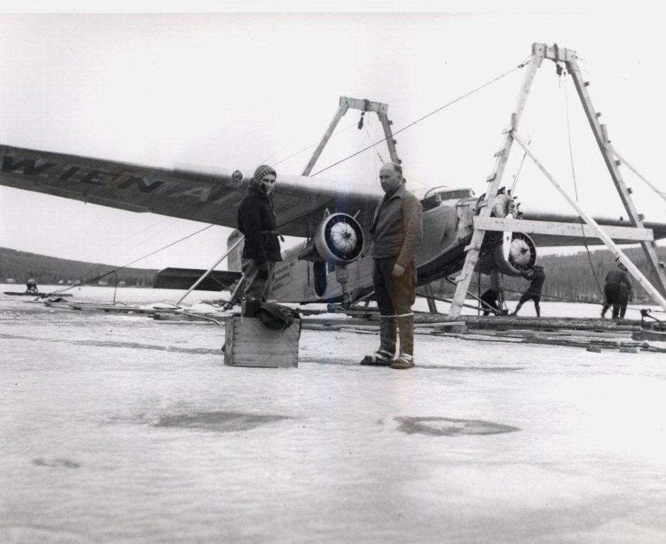 Tri- Motor Ford lifted out of Harding Lake.