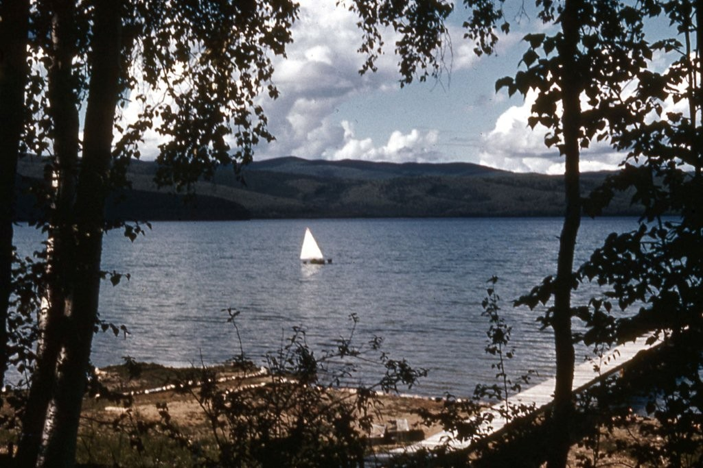 Sail boat at Harding Lake. Probably taken in 1950's.