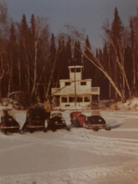 This picture of the Sternwheeler Bonnie G was taken sometime in the  >early 70s where the sternwheeler was lodged at the north end of Harding Lake. We were on our way to Tom and Bonnie Roberts cabin up the Salcha.