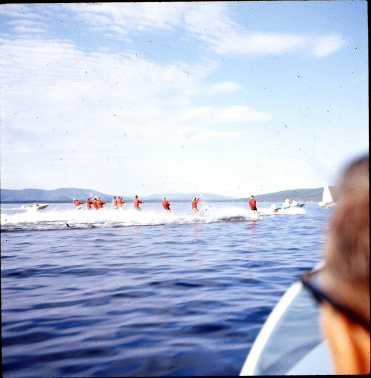 10 skiers Harding Lake behind Howard Mackey's boat 1960's