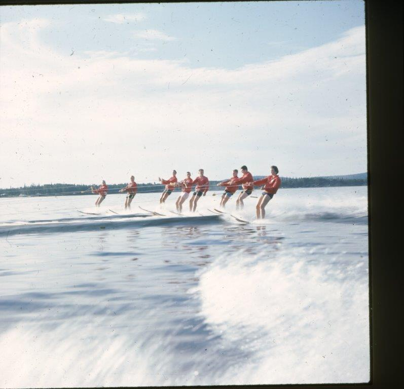 8 skiers at Harding Lake 1960's