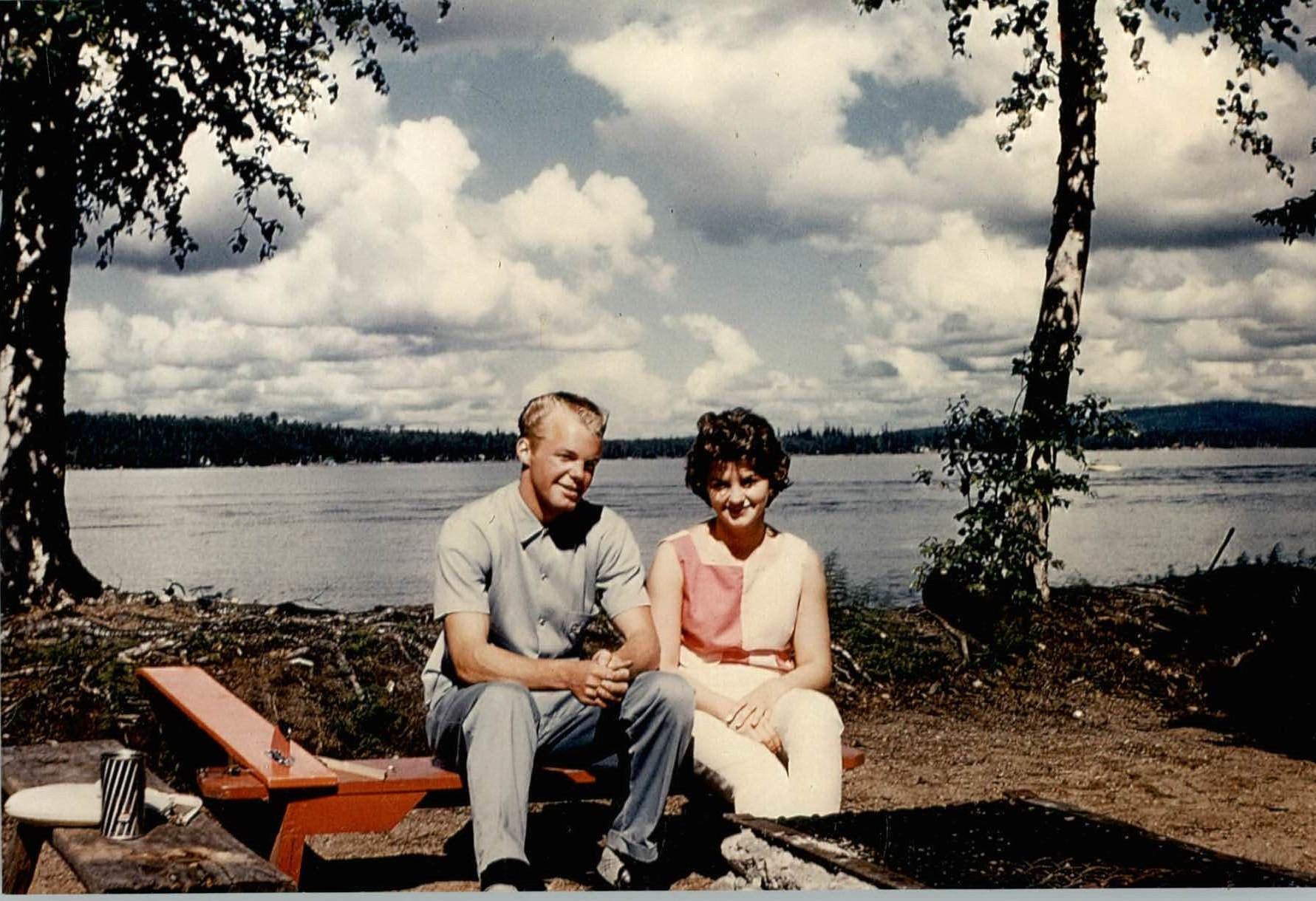 1961 Dave Tilman & Robin Wold Dodson looking west from cove area near the point.  West side or highway side of lake visible in photo