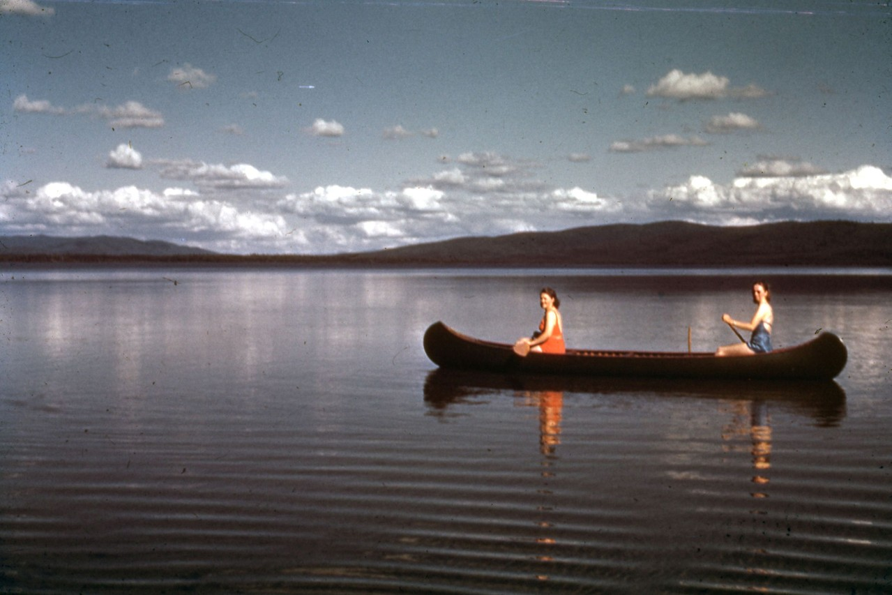 Unknown canoers in late 1940's.  Taken from north end of Harding Lake near the State Campground area.