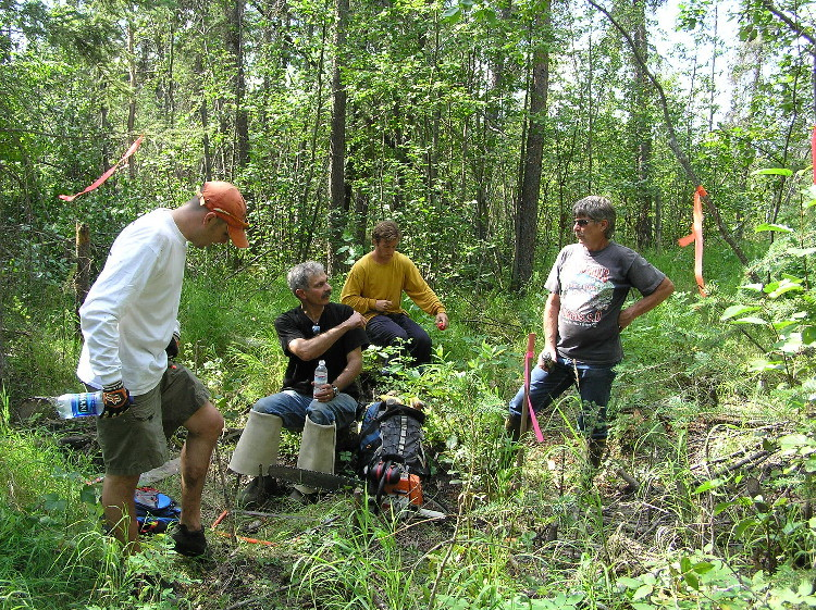 The Warwick boys, Bob Tsgonis and unknown person preparing the diversion site.  Summer 2005.