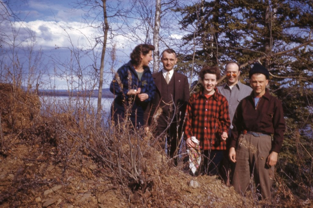 Unknown group at Harding Lake.  Photo taken in fall or spring during the 1940's.