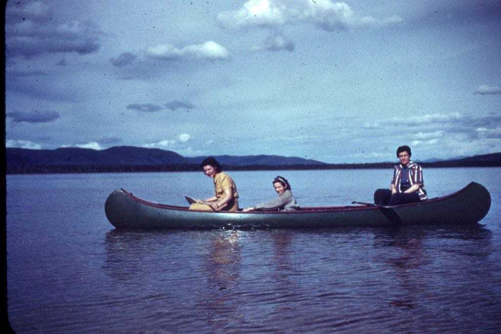 Photo from 1940's of Rosamond Weller in front, Dorothy Pattinson in middle and unknown person in rear.  At Harding Lake.