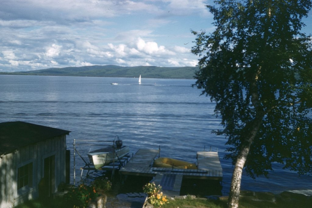 Photo taken in 1950's looking across Harding Lake from 5th Street.  Taken from 5th Street area.