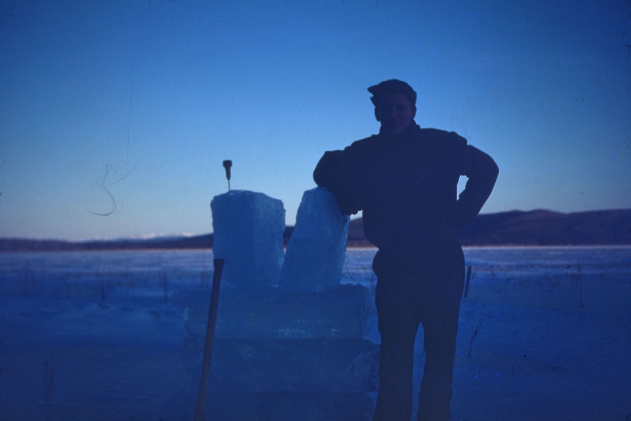 Additional view of ice harvester from Harding Lake in 1940's.