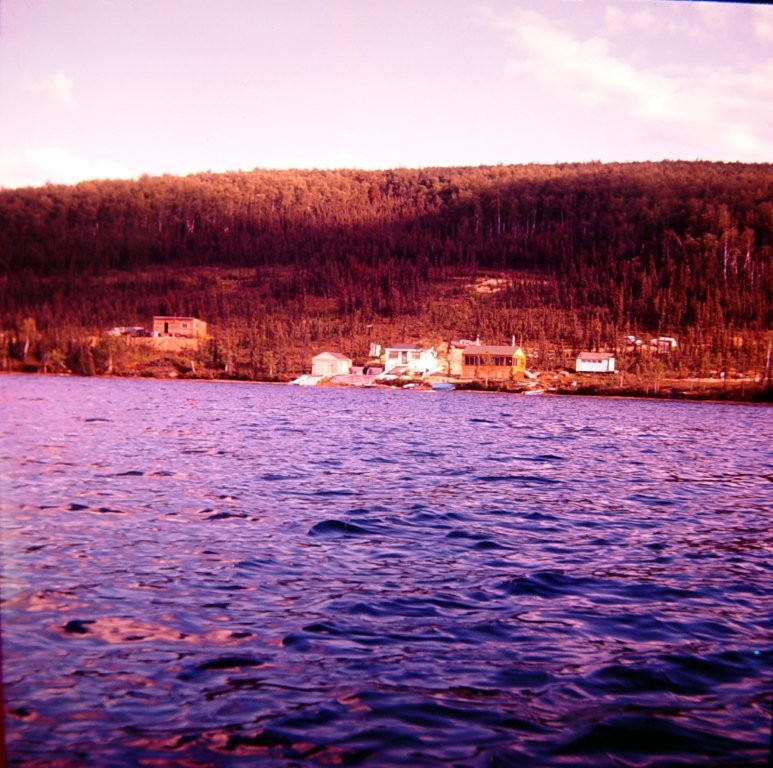 Cabins at end of Harding Lake in the cove near the point.  Giinther cabin in the middle.  1950's