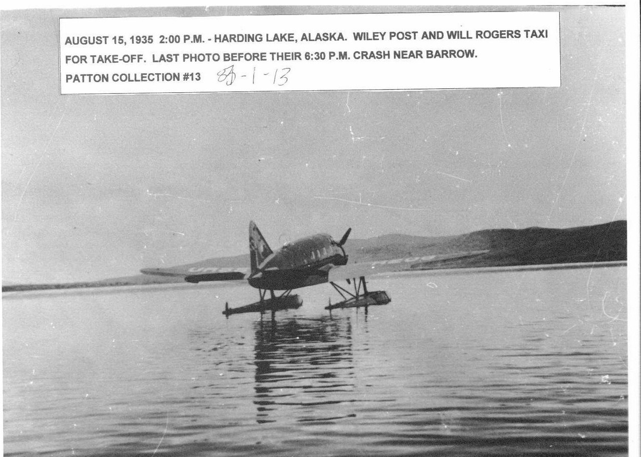 Post and Rogers take off at Harding Lake before their crash near Barrow.