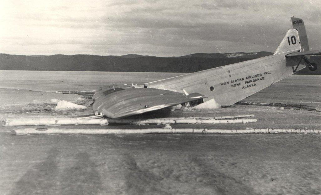 Tri- Motor Ford before being lifted out from Lake.