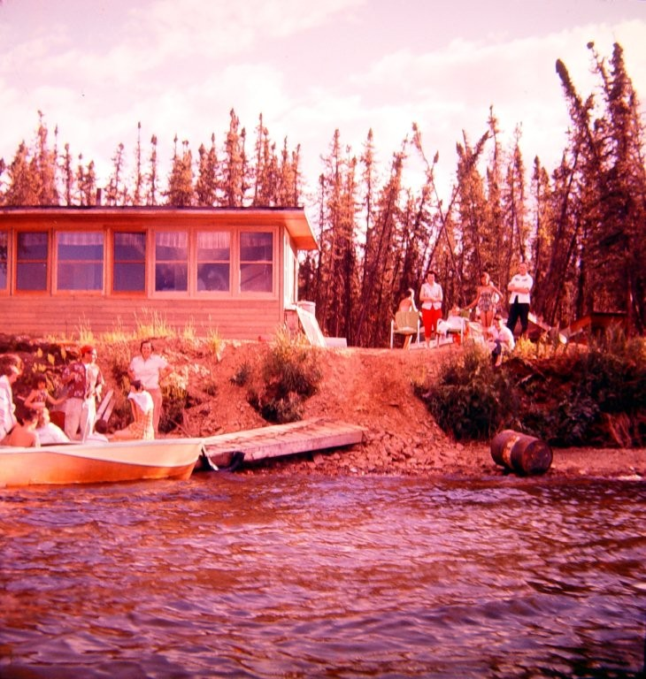 Old Tilman cabin in the cove near the point at Harding Lake.  Probably 1950's.