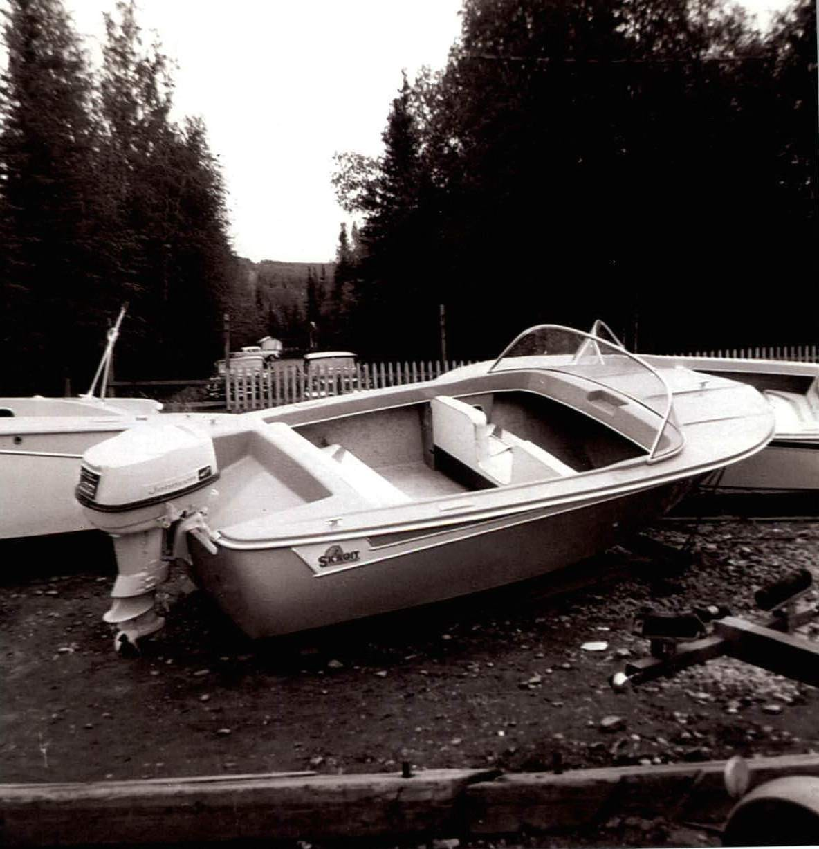 June 1959 Boats for sale at old store site.  Photo taken from old store site and 5th Street lake access.
