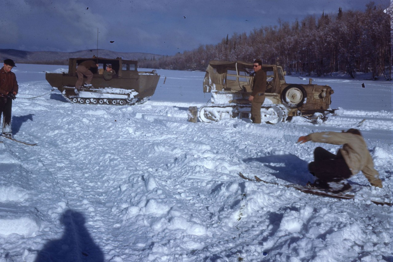 Winter fun at Harding Lake.  Unknown group.  Probably taken in the 1940's.