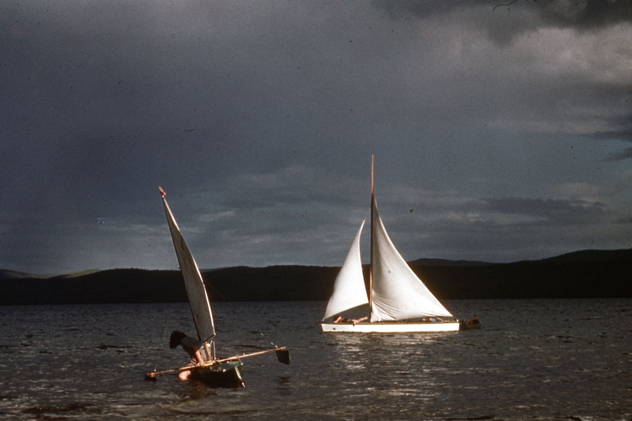 Sail boats at Harding Lake. Probably taken in the 1950's.