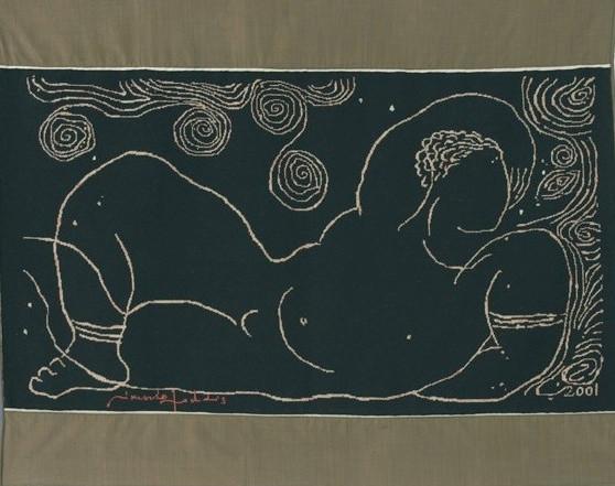 """"""" SOURCE """"  2001- Laine et soie-116x150cm."""