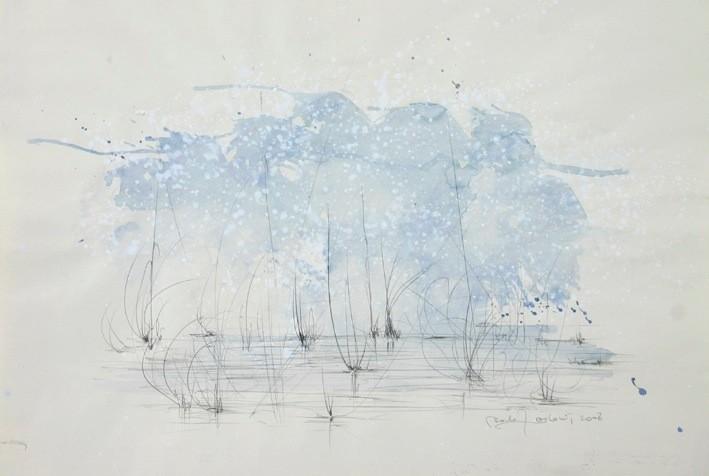 """"""" MARAIS """" II """"  2008- Encre et aquarelle sur papier-57x40cm."""