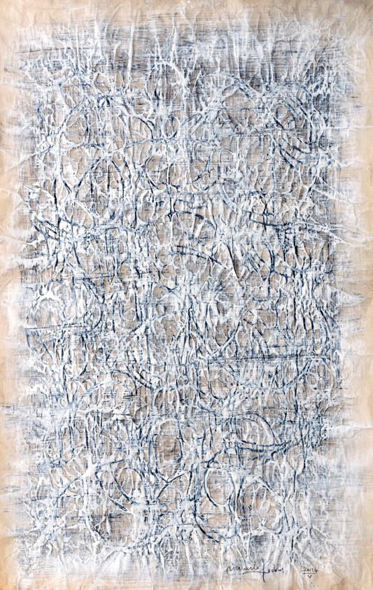 """"""" PAPIER I """" ( ÉCORCE) 2014-Tech.mixte sur papier-98x63cm."""