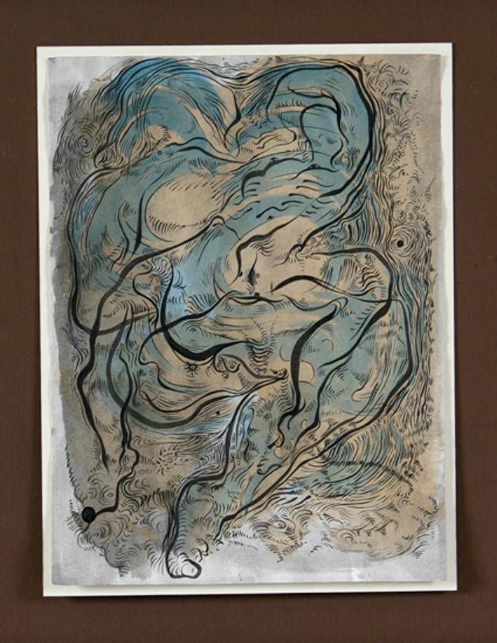 """"""" MÉTAMORPHOSE IV """"  2006- Encre et aquarelle sur papier-50x43cm."""