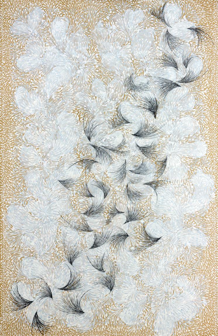 """"""" OISEAUX ET FLEURS """" 2014-Tech.mixte sur papier marouflé-92x63cm."""