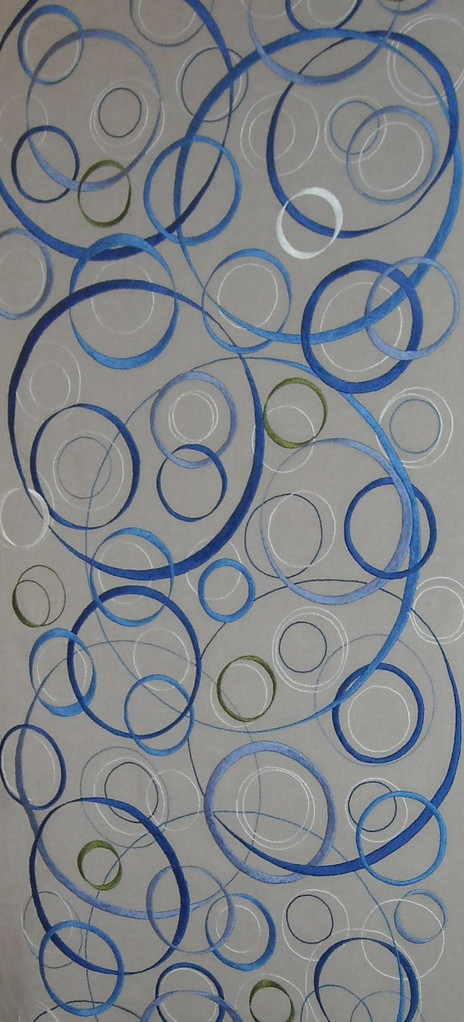 """ CERCLES ""  2011- Brodée main sur lin naturel-210x77cm."