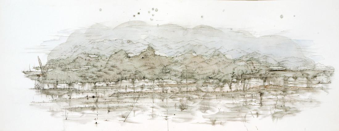 """"""" PAYSAGE V """"  2012- Aquarelle et mine de plomb sur papier-25x65cm."""