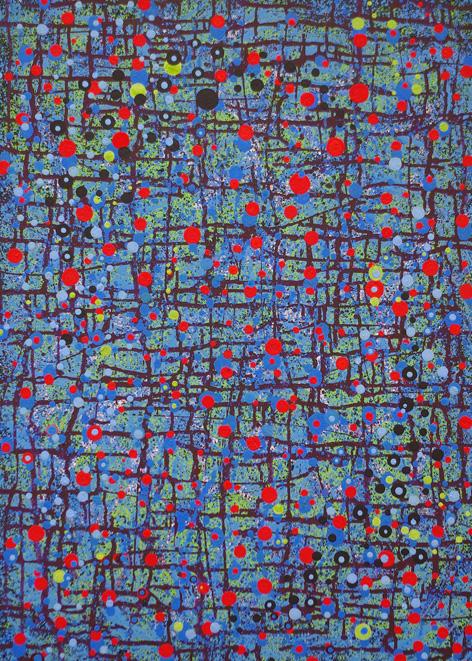 """"""" ESPÉRIDES """"  2009- Tech.mixte sur toile. dim.115x88cm."""