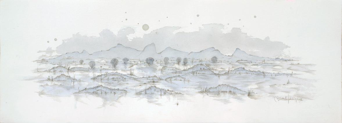 """"""" PAYSAGE VI """"  2012- Aquarelle et mine de plomb sur papier-28x77cm."""