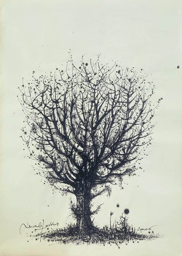 """"""" ARBRE VI """"  2006- Encre sur papier-80x65cm."""