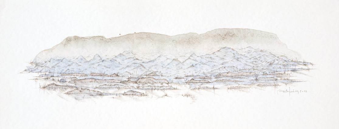 """"""" PAYSAGE III """"  2012- Aquarelle et mine de plomb sur papier-25x65cm."""