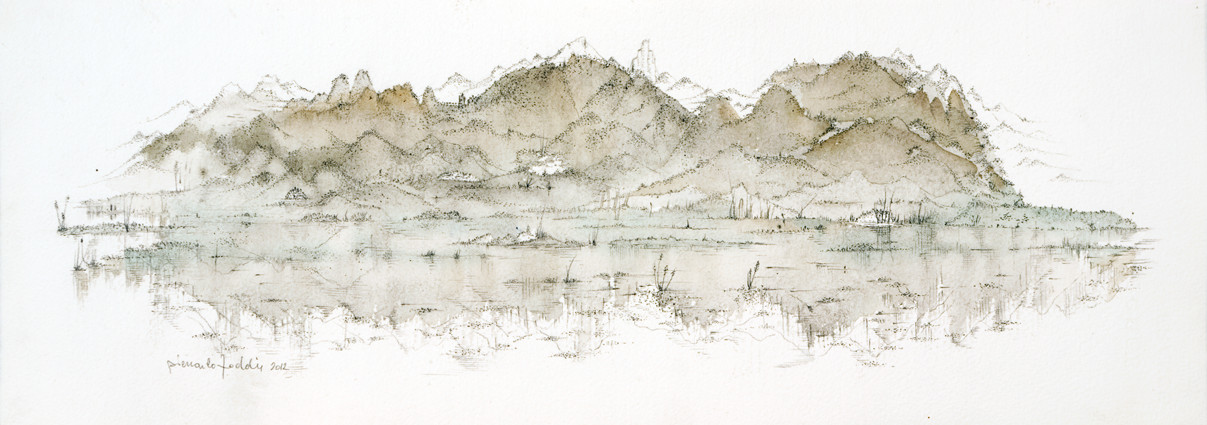 """"""" PAYSAGE I """"  2012- Aquarelle et mine de plomb sur papier-20x57cm."""
