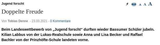 """Erfolge der Bassumer Schüler*innen bei """"Jugend forscht"""" im Syker Kurier"""