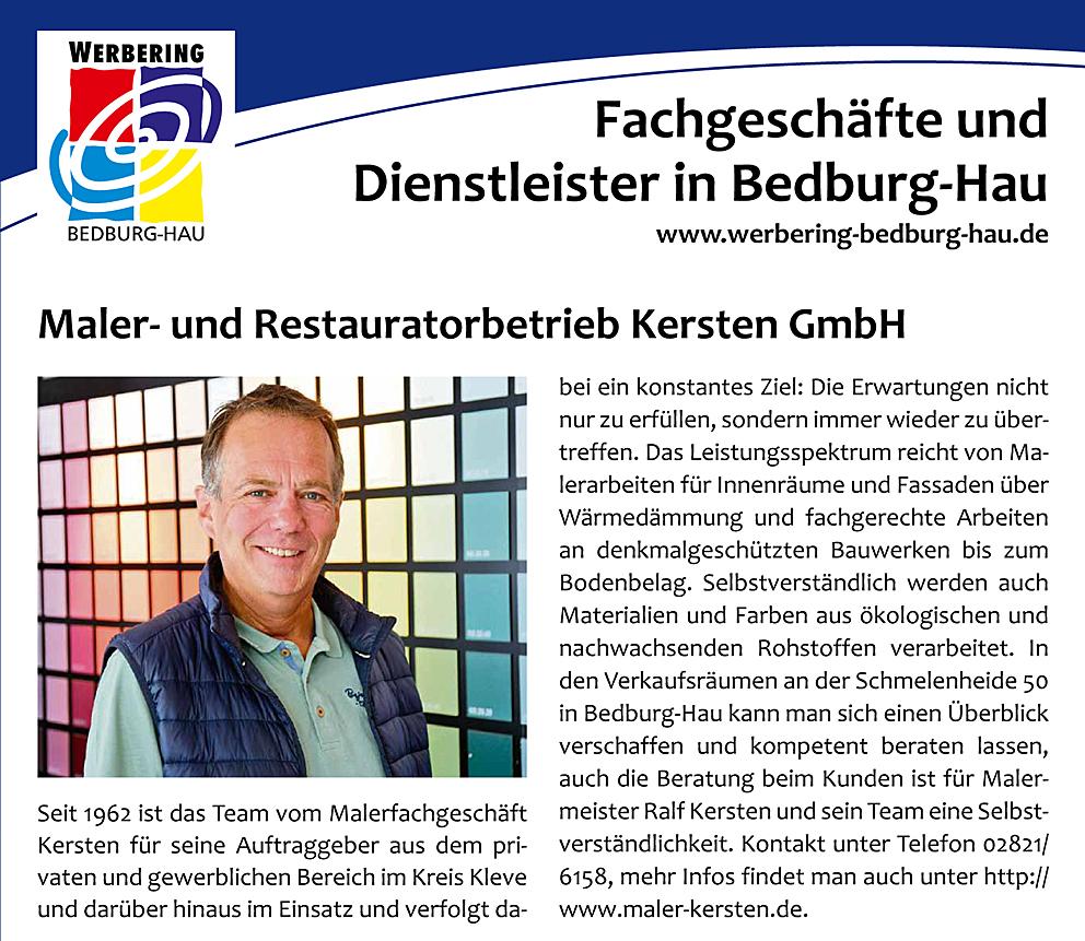 Presseartikel  in den Niederrhein Nachrichten, des Maler- und Restauratorbetriebes Kersten GmbH.
