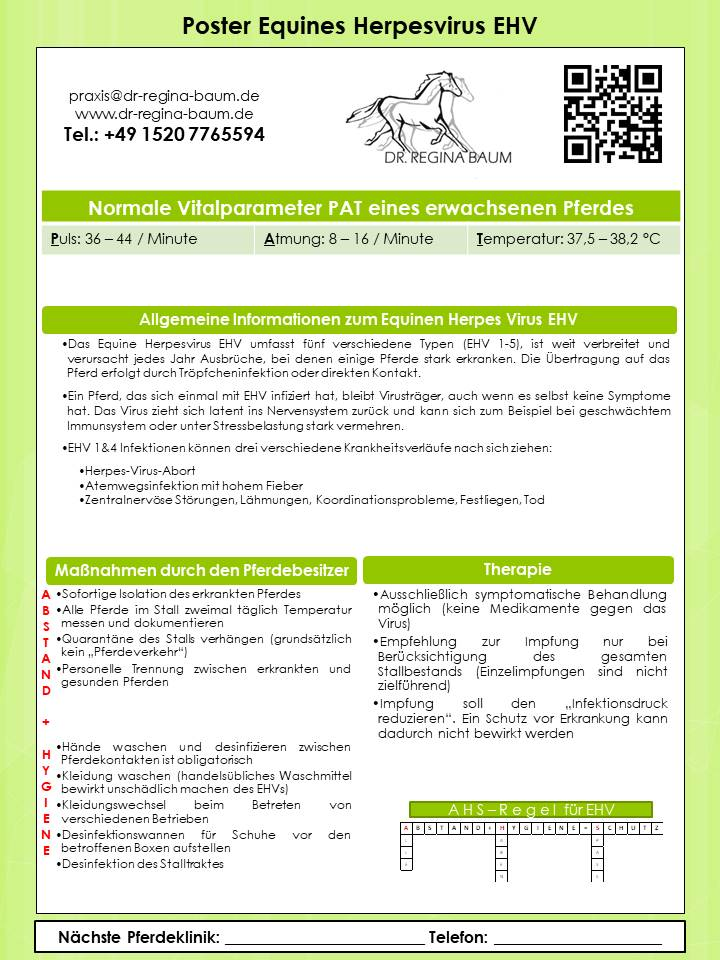 Poster Equines Herpes Virus EHV