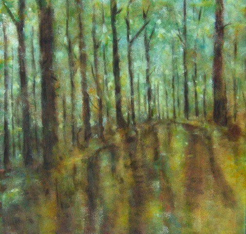 Chemin forestier après l'averse - 80x80 - 2010