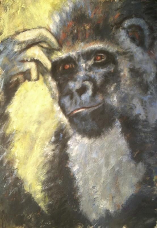 Gorille intello - 60x80 - auf Pappkarton - 2008