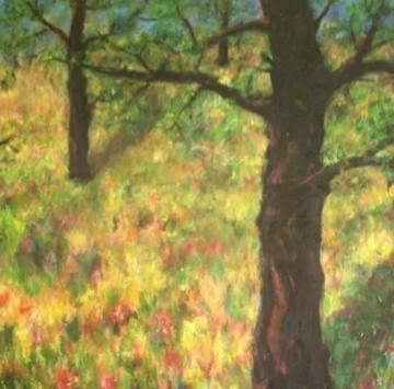 Arbres dans la prairie - 120x120 - 2006