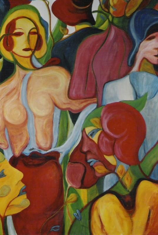 Femmes fleurs à chapeaux - 150x120 - 2005