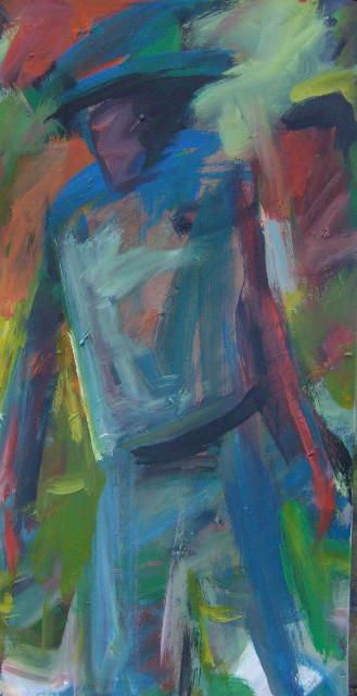 Homme bleu pressé - 40x80- 2009