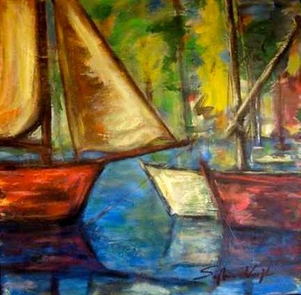 Petit port de pêche -eingerahmt - 43x43 - 2006