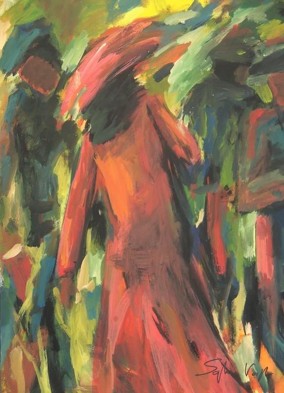 Dame en rouge - 50x70 - 2010
