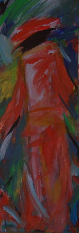 Dame en rouge - 40x120 - 2011