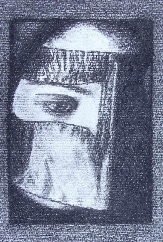 Beauté cachée - Zeichenkohle auf Papier - 15x29 - 2009