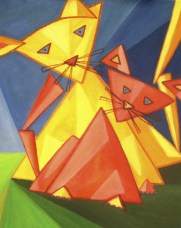 Chats triangles - 60x80 - 2010