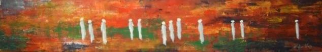 Défilé d'argentées sur fond flamboyant - 30x180 - 2012