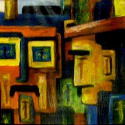 Ville en têtes - eingerahmt 43x43 - 2007