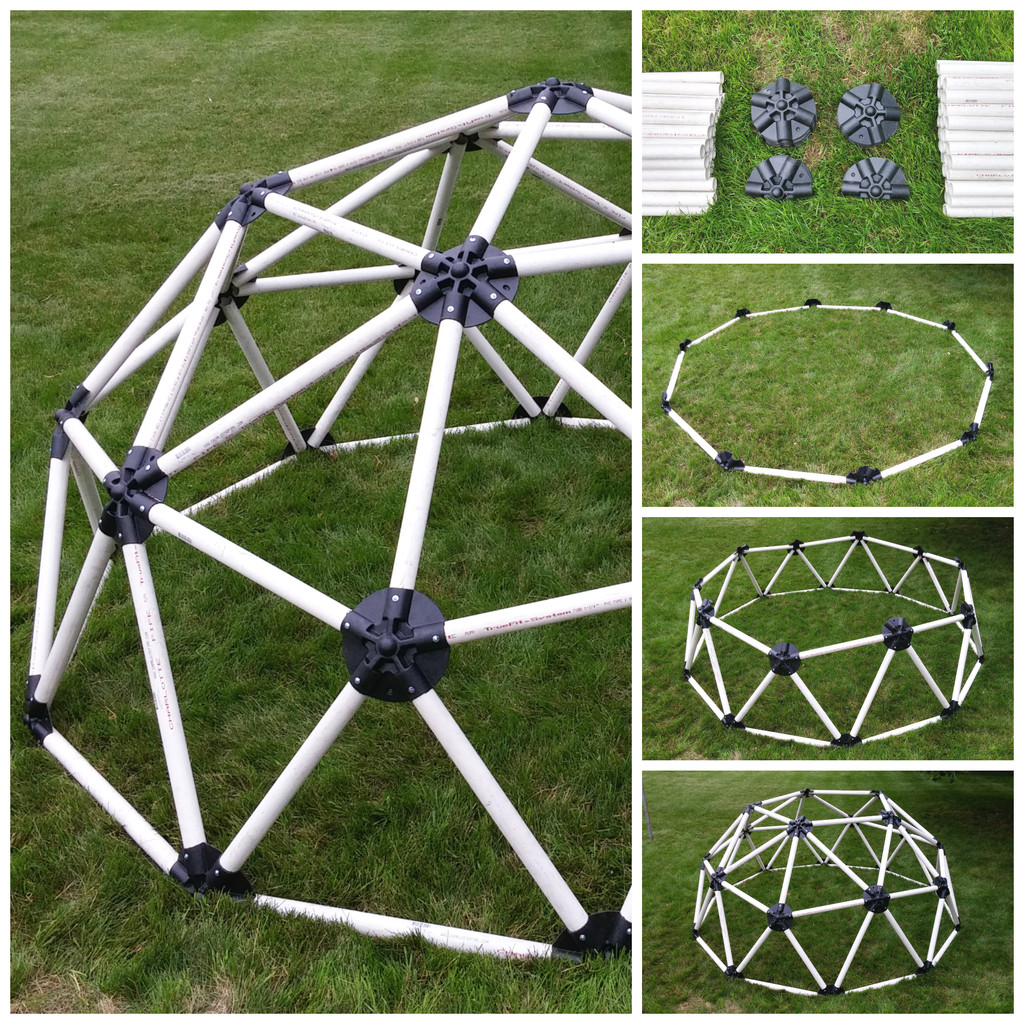 "2x6 Heavy Duty Wood Geodesic Hub Kit: 1.25"" Pipe Geodesic Hub Kit"