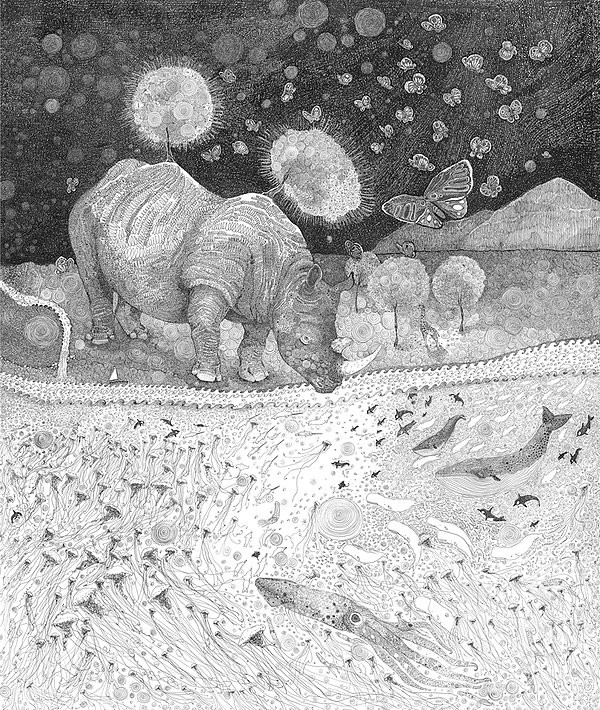 Olivier Marc Thomas Leger, illustration, Rhinoceros Doodle